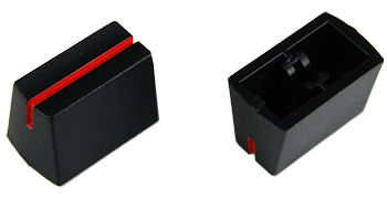 Black Slide Knob with Red line - PAIR