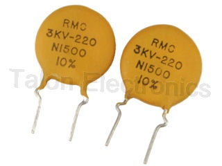 220pf 3KV Ceramic Disc Capacitor - PC leads - Pack of 2