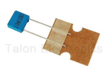 .01uF / 100V polyester film radial box capacitor