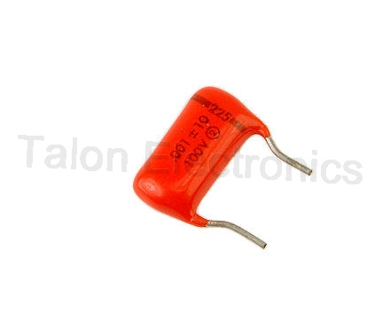.001uF/100VDC Sprague Orange Drop capacitor with formed PC leads