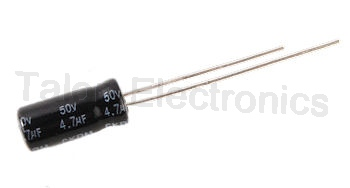 4.7uF  50V Radial Electrolytic Capacitor