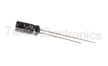 1uF  50V Radial Electrolytic Capacitor