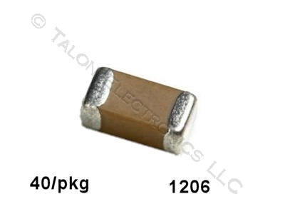 0.01uf, 50V Surface Mount Ceramic Capacitor Size 1206 (Pkg of 40)