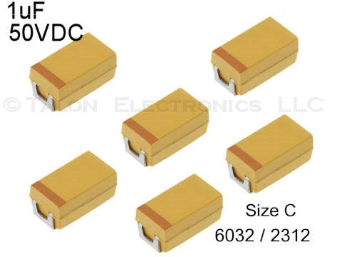 1uF 50V Surface Mount Tantalum Capacitor Size C (Pkg of 6)