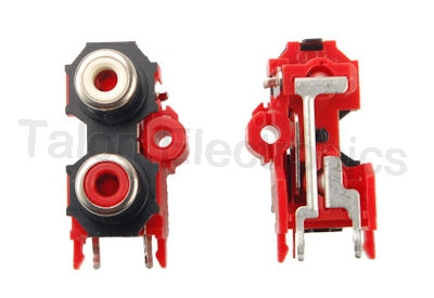 1 X 2 RCA Jacks - Red/White (Pkg of 2)