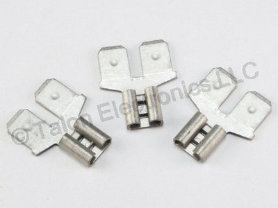 "Solderless Dual Male Single Female 1/4"" Quick Connect Tab Adapter - 3 PACK"