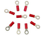 Solderless Insulated Ring Terminal for #8 Screw - Crimp - 22-18 Wire Range - 10 PACK