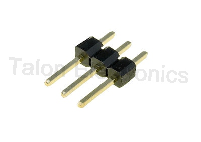 "1X3 Square 3 Pin Breakaway Header - .1"" - with Gold Plated Pins"