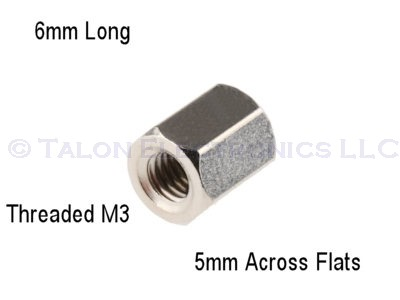 "0.235""  (6mm) Long M3 Threaded Hex Standoff"