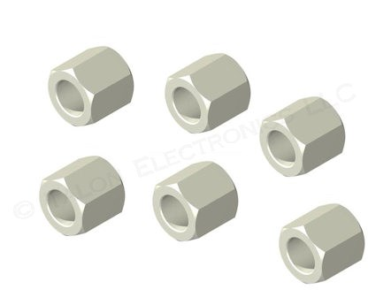 "0.250""  Long 1/4"" Hex Clear Hole Spacer for #8 Screw (Pkg of 6)"