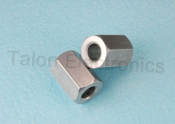 "0.53"" Long Hex Clear Hole Spacer, .375"""