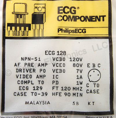 ECG128 NPN Silicon AF Preamplifier/Driver/Output Transistor