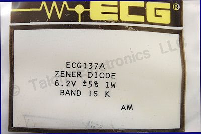ECG137A 6.2V 1W Axial Lead Zener Diode