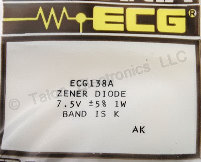 ECG138A 7.5V 1W Axial Lead Zener Diode