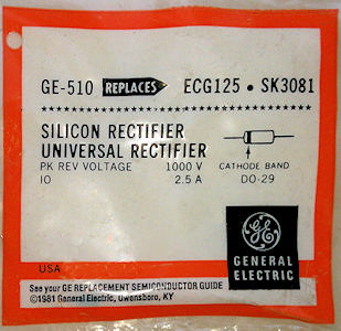 GE-510 Silicon Rectifier Diode 2.5A 1000V
