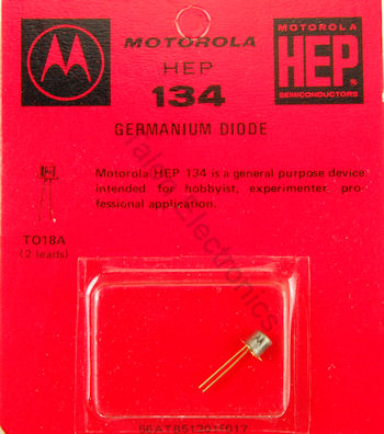 HEP-134 Germanium Diode  60V, 30uA - 1N34 replacement