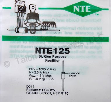 NTE125 General Purpose Rectifier 2.5A 1000V