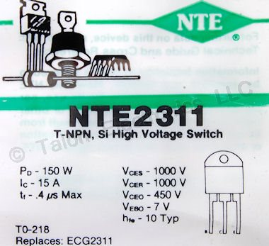 NTE2311 Silicon NPN Transistor - 1000V 15A, High Speed Switch