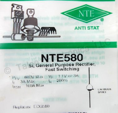 NTE580 600V 3A Fast Switching Rectifier
