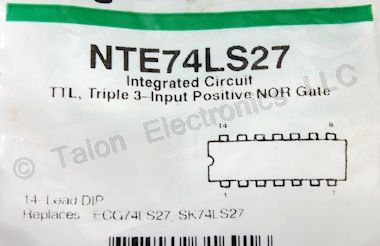 NTE74LS27 Triple 3-Input NOR Gate IC