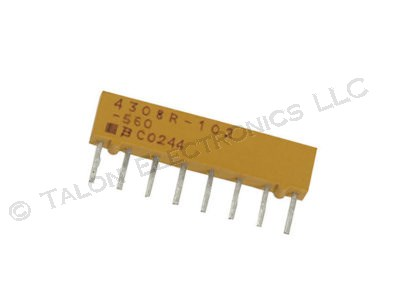 56 ohm 8 Pin SIP Isolated Resistor Network Bourns 4308R-102-560