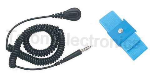 Desco Adjustable ESD Wrist Strap and 12' Coiled Cord