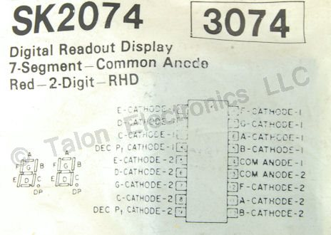 SK2074 2 Digit Common Anode LED Display