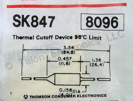 SK847 98 Degree Thermal Fuse