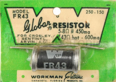 Workman FR43  Globar Resistor 600mA for Filament Ckts