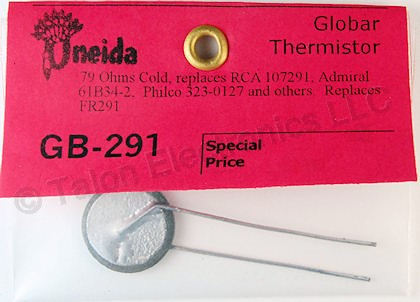 Oneida GB291 Replacement Degauss Thermistor - 79 ohm @ 25°C  FR291 equivalent
